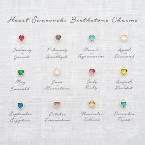 Heart Swarovski Crystal Birthstone Charm Key