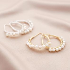 ornate pearl earrings available in sterling silver and gold plated sterling silver