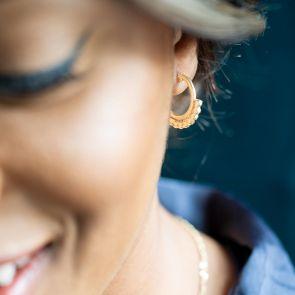 gold plated sterling silver ornate hoop earrings