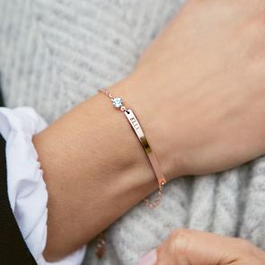 Rose Gold Bar Bracelet Engraved with Name in Classic Font with a Birthstone