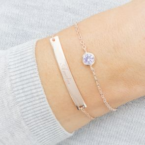 Rose Gold Birthstone And Bar Personalised Bracelet