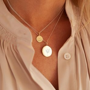 Initial Disc Pendant Necklace with Botanical Illustration