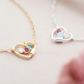 personalised heart necklace with family birthstone charms