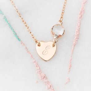 Chloe Heart Personalised Birthstone Necklace