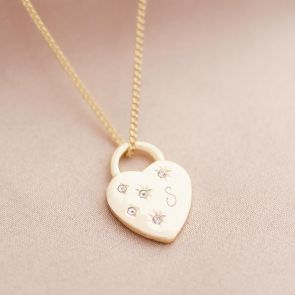 Crystal Heart Lock Initial Personalised Necklace