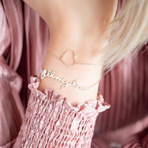 "Silver Diamond Cut Out Heart Charm bracelet with Silver ""All My Love"" Cutout Bracelet"