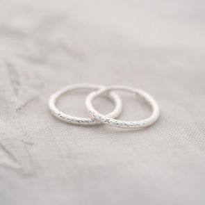 Diamond Cut Small Hoop Earrings
