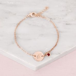 Rose Gold Bracelet Chain with Disc Charm Personalised with Initial and Birthstone