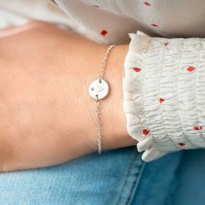 Rose Gold Disc Bracelet with Birthstone Personalised with Initial