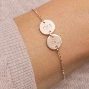 Personalised Sterling Silver Double Disc Bracelet