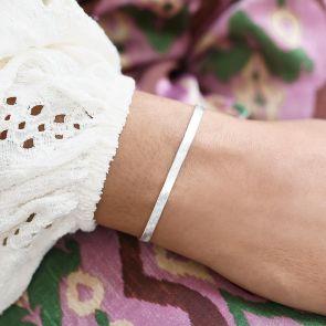 silver herringbone chain bracelet