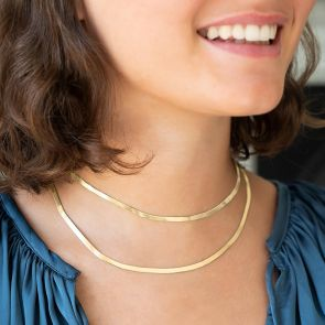 double layer Herringbone Chain Necklace