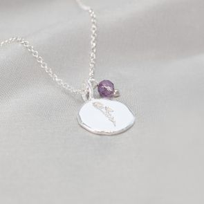 Sterling Silver Organic Disc Pendant Personalised with Birth flower Engraving and Birthstone Bead