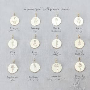 Gold Plated Sterling Silver Etched Birth flower Disc Charm Key