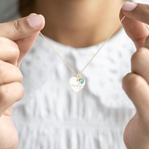 Heart Pendant Necklace with heart Birthstone and Personalised Name