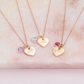 Rose Gold Heart Necklaces Personalised with a Modern Script Name and Birthstones