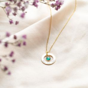 Gold Ring Pendant With Birthstone Charm and Three Names
