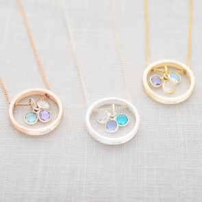 family birthstone ring necklace available in silver, rose gold and gold