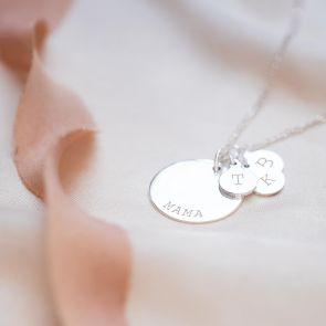 Silver Disc Pendant Necklace Engraved in Typewriter Style with a Name and Three Initials