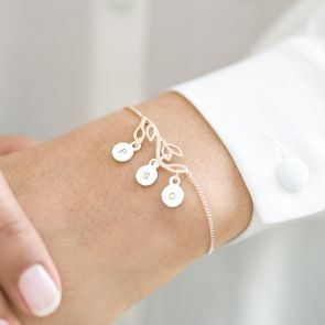Tree Branch Bracelet with Hanging Handstamped Letter Charms