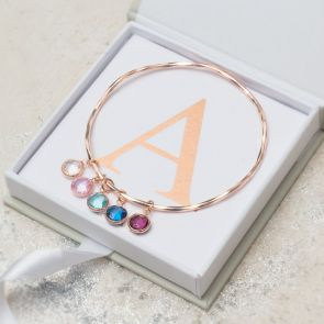 Create Your Own Family Birthstone Bangle in Rose Gold