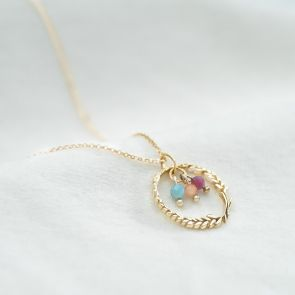 Gold Botanical Wreath and Birthstone Bead Charm Personalised Necklace