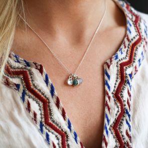 Personalised Triple Semi Precious Birthstone Necklace