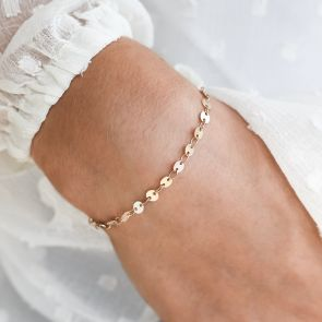 Gold Plated Sequin Style Chain Bracelet