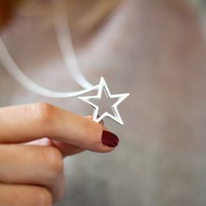 Silver Plated Open Star Pendant Necklace