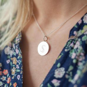 Silver Plated Disc Necklace Personalised with a Floral Initial