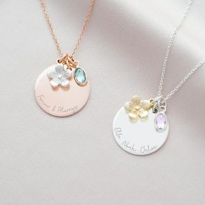 disc, flower and birthstone charm necklace available in rose gold and silver