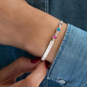 Birthstone and Bar Silver Plated Personalised Bracelet