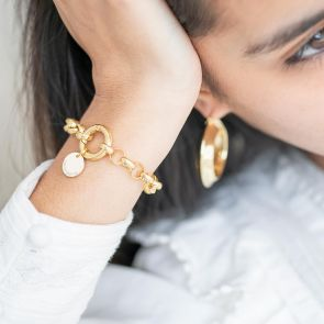 gold plated disc bracelet with large chain