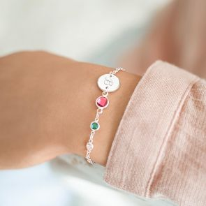 Personalised Initial Disc and Family Birthstone Bracelet