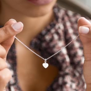 Sterling Silver Heart Charm Necklace Personalised with Script Initial