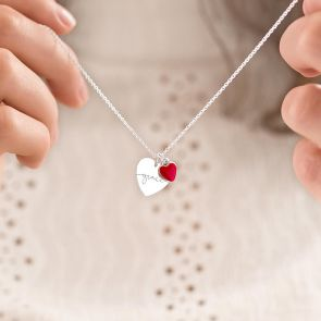 Valentine Esme Heart Personalised Name Necklace in Silver with a small red enamel heart charm