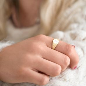Gold Plated Sterling Silver Initial Signet Ring