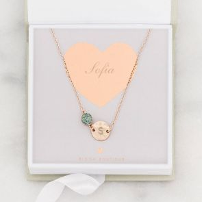 Personalised Hammered Initial Disc Druzy Necklace
