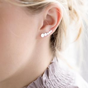 sterling silver round climber earrings