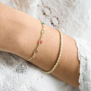 Gold Oval Birthstone Bracelet and Rope Style Chain Set