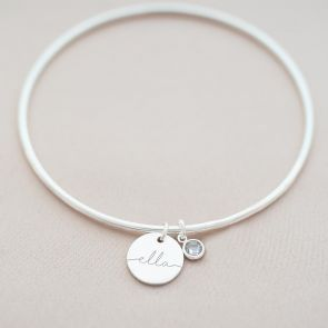 Silver Bangle with Name Disc Charm and Hanging Birthstone