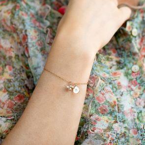 Honey Bee Personalised Bracelet with Personalised Handstamped Initial Charm