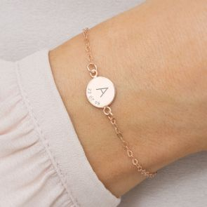 Rose Gold Disc Bracelet Personalised with Initial and Memorable Date