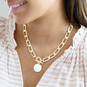 large gold plated chain necklace with personalised disc charm