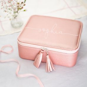 Large Pink Jewellery Box Personalised with Modern Script Name