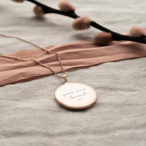 Rose Gold Plated Sterling Silver Message Pendant Necklace