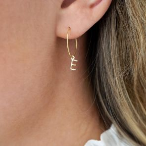 Personalised gold Plated Sterling Silver letter Charm Earrings