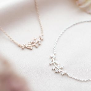 silver plated and rose gold plated branch bracelet with inlaid Swarovski crystal birthstone charms