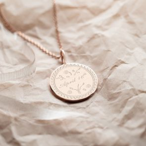 Sterling Silver Floral Love Token Personalised Necklace