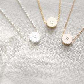 Mini Disc Initial Personalised Necklace